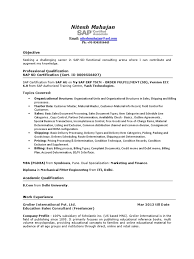 Mechanical Resume Samples For Freshers Sap Abap Fresher Resume Sample