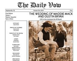 newspaper wedding program wedding newspaper etsy