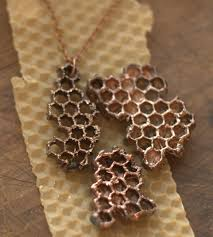 electroforming copper electroformed honeycomb necklace electroplated honey comb