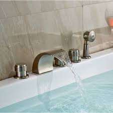 Tub Faucet Hand Shower Monora Brushed Nickel Waterfall Tub Faucet Three Handles With