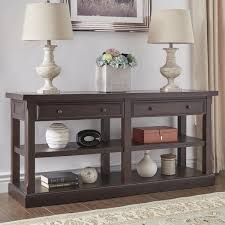 Wood Sofa Table Jenson Espresso Wood 2 Drawer Sofa Table Tv Stand By Inspire Q