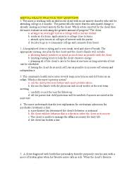 mental health practice test questions nursing psychiatry