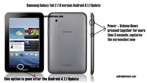 android print screen how to capture screenshot in samsung galaxy tab 2 7 0 version