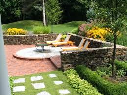 Green Grass Patio Brickbrick Designs With Fire Pit Brick Ideas