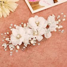wedding hair combs bridal hair comb pearl jewelry hair accessories handmade flower