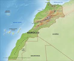 Map Of Spain And Morocco by Morocco Physical Map