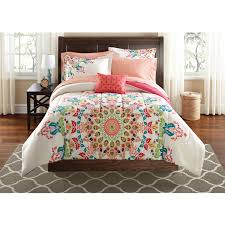 Coral Bedspread Mainstays Medallion Bed In A Bag Bedding Set Walmart Com