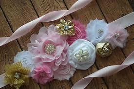 baby shower sash sash pink gold white sash flower belt maternity sash baby