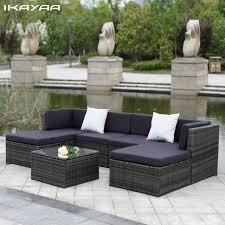 divano giardino ikayaa stati uniti stock patio mobili da giardino divano set pouf