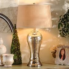 lighting gold mercury glass table lamp with burlap shade for home