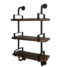 Industrial Bookcase With Ladder by Ikayaa 3 Tier Rustic Industrial Iron Pipe Wall Shelves W Wood