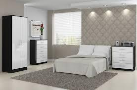 White Gloss Bedroom Mirror Bonsoni Mdp Lynx 3 Door 2 Drawer Mirror Wardrobe Black U0026 White