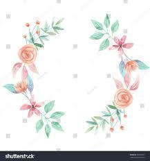 watercolor wreath peach flower wedding garland stock illustration