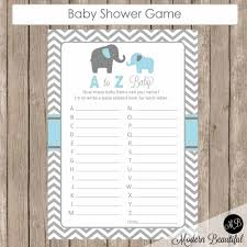 blue and gray a to z baby shower game elephant baby shower