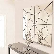 mirror decals home decor 7pcs 2 colors geometry mirror wall sticker moire pattern mural