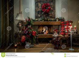 Christmas Decorations Home Romantic Fireplace And Christmas Decorations At Home Stock Photo