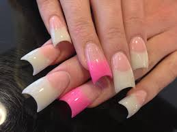 long pink and white nails how you can do it at home pictures