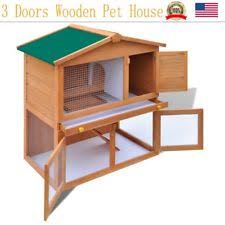 wooden outdoor triangle rabbit hutch guinea pig cage pet house