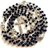 15 decade rosary elegantmedical handmadesilver skull black fifteen 15