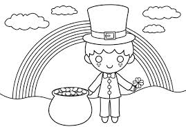 rainbow pot of gold coloring pages a happy st patricks day with rainbow and gold pot coloring page