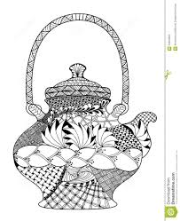 teapot highly detailed illustration in zentangle stock vector
