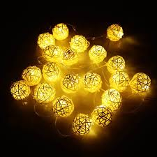 20 warm white mini wicker rattan ball fairy lights battery