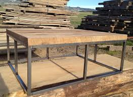antique oak coffee table with black iron base reclaimed wood
