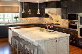 kitchen island molding marble looking granite kitchen transitional with white counter