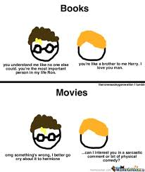 Meme Books - the difference between movies and books of harry potter by kururugi