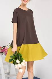 fashion trends bellywear color block t shirt dress brown women