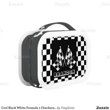 cool black white formula 1 checkered flags pattern lunch box auto
