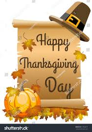 happy thanksgiving day on scroll parchment stock vector 512902615