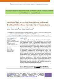 habitability study on low cost house design of modern and traditional u2026