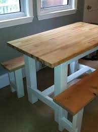 Farm Tables With Benches Ana White Farmhouse Table With Butcher Block Diy Projects