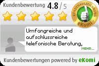 eKomi Siegel mit Kundenbewertung und Zitat