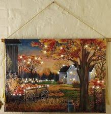 thanksgiving lighted autumn harvest pumpkin canvas wall hanging