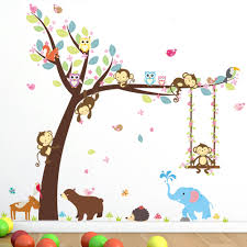 cartoon swinging monkey reviews online shopping cartoon swinging animal cartoon owl monkey swing under the tree elephant wall stickers for kids rooms boys girls home decor nursery decal