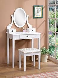 Mirrored Vanity Table Amazon Com Oak Vanity U0026 Stool Set Vanity Table Bench U0026 Mirror