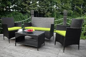 Patio Table And 4 Chairs Amazon Com Merax 4 Piece Outdoor Pe Rattan Wicker Sofa And Chairs