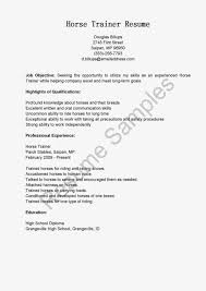 Culinary Resume Samples Horse Trainer Sample Resume