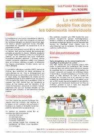 Comment Fonctionne Une Vmc Double Flux by Fiche Technique La Ventilation Double Flux Vmc Ademe 2013