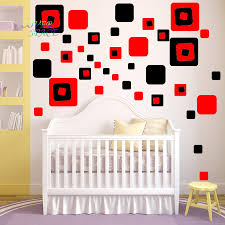 wall decal squares promotion shop for promotional wall decal creative 36 red black square geometry girls wall decal sticker bedroom vinyl nursery teen abstract wall sticker for kids room