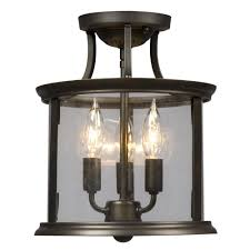 flush mount lantern light filament design negron 3 light oil rubbed bronze incandescent semi