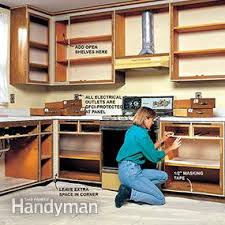 How To Build A Corner Bookcase Step By Step How To Refinish Kitchen Cabinets Family Handyman