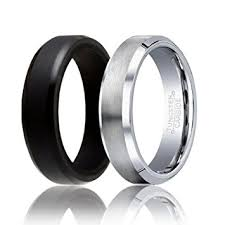 rubber wedding ring soleed set of 2 1 tungsten wedding band and 1