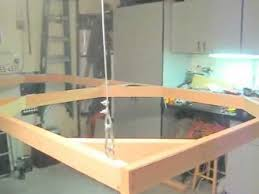 fold up train table winch system from the ceiling for hanging ho model train layout 2