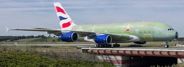 a british airways a380 arriving for full livery painting in hamburg