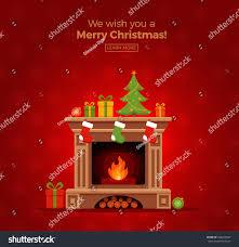 christmas fireplace room interior colorful cartoon stock vector