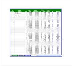 bmi chart templates 13 free word excel pdf format download