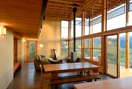 modern cabin rustic dining room seattle by johnston architects
